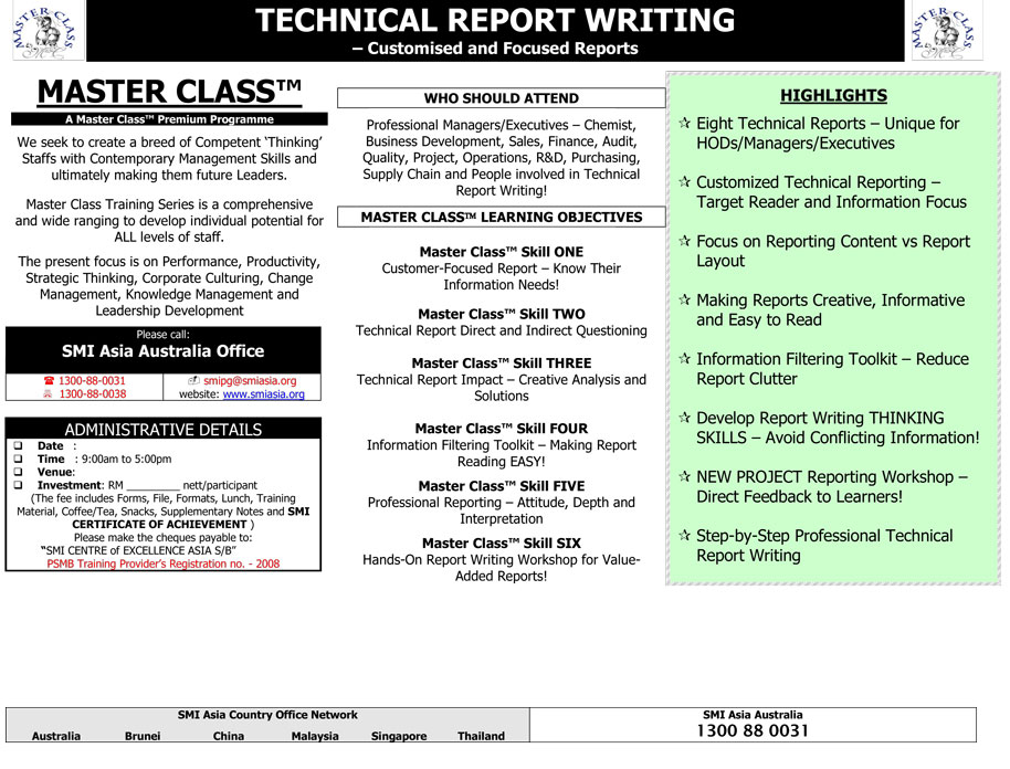 technical report writing training By presenting practical tools and techniques, this technical report writing program is designed to ensure that the process of writing technical reports becomes an effective and integral communication mechanism within any organization.