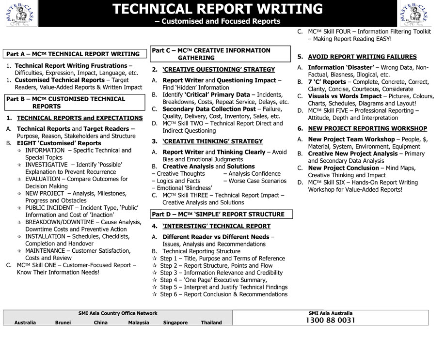 technical report writing course Make use of informative video lessons to become familiar with the process of technical writing, including the different types advanced technical writing course.
